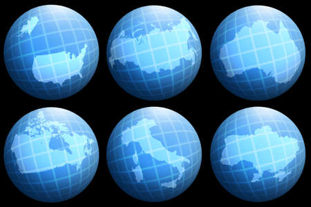 abstract collection with single countries on globe photo