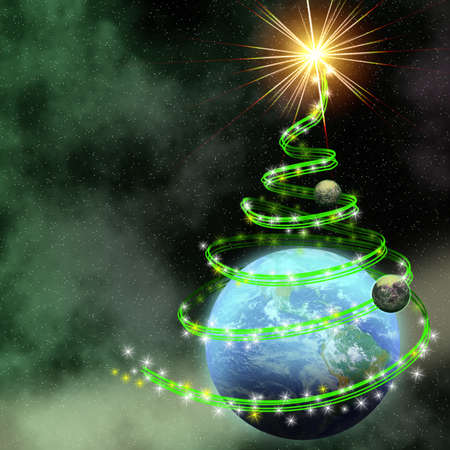 earth with abstract christmas tree spiral in open cosmos Stock Photo