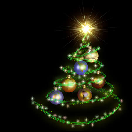 abstract christmas tree spiral with earth balls isolated on black photo