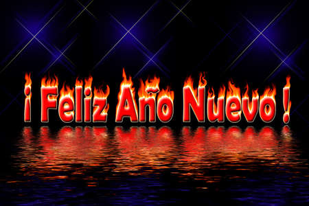 feliz: happy new year spanish letters in fire flooding water on black background