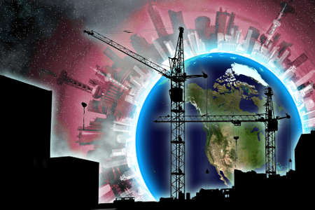 couple lifting cranes and buildings over earth and urban building in open cosmos Stock Photo