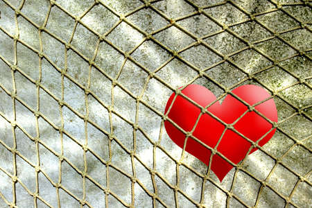 red heart in rope net against stone wall Stock Photo - 4105879