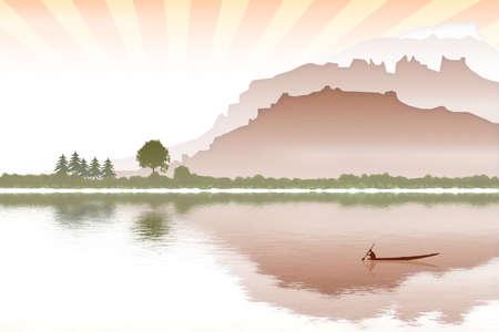 seacoast: landscape with boat seacoast and sunrise