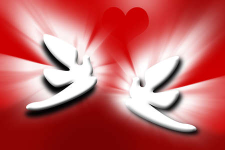 the best stylized couple doves and heart on red background Stock Photo - 4294166