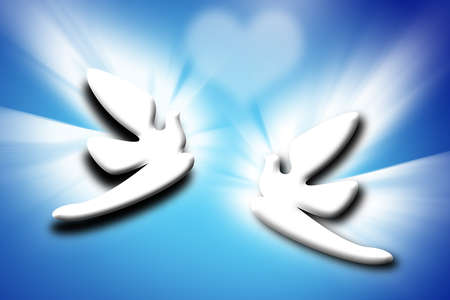 the best stylized couple doves and heart on blue background photo