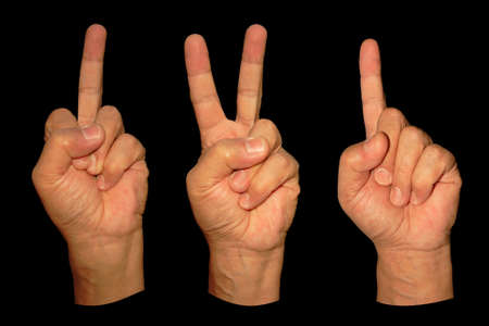 three man hands show middle finger, victory and direction isolated on black Stock Photo - 4450642
