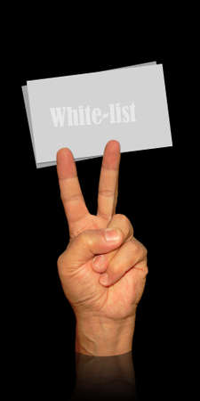 visit card holder from man hand and victory sign for white-list cards photo