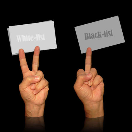 visit card holders from man hands in victory and middle finger signs for white black list cards Stock Photo - 4450644