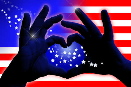 abstract american flag design with man hands in heart shape Stock Photo