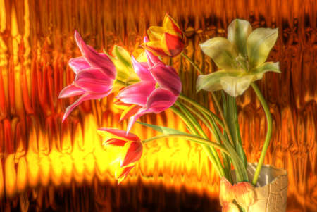 different tulips bouquet on the golden background - hdr image photo