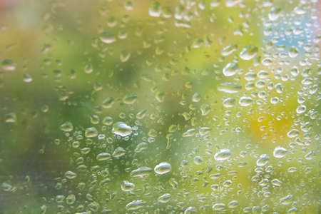 dewdrops on window glass with vivid green blur background photo