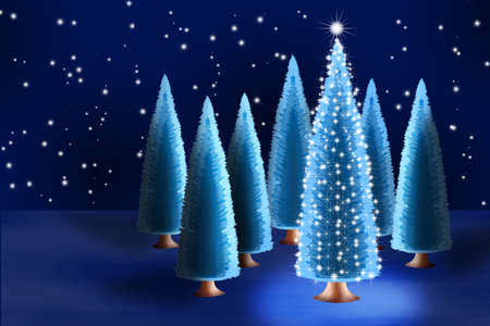 Christmas tree in forest among firs photo