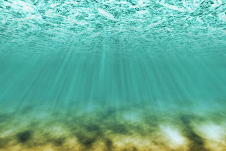 under water scene with light rays as background photo