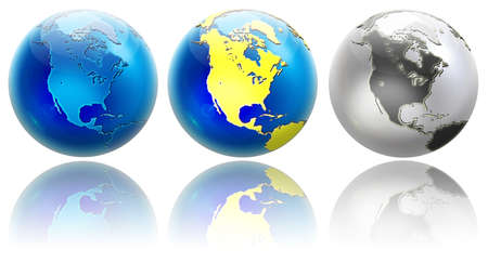 Three different colors globe variations. Position to North America. Isolated on white with reflections.