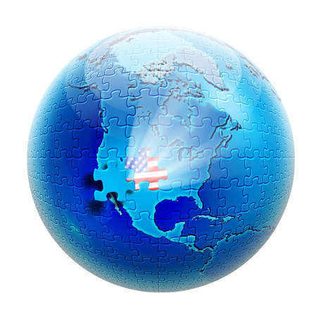 Puzzle on globe view to North America and with flag USA inside photo