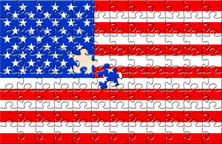 Puzzle with flag USA and one element not closed yet. Placed over paper texture. photo