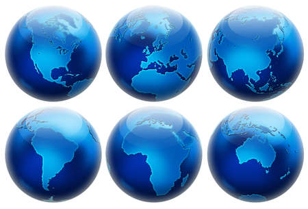 Six different positions globes isolated on white. In blue colors. photo