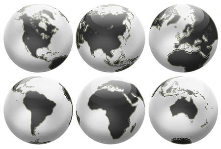 Six different positions globes isolated on white. In black and white colors. photo