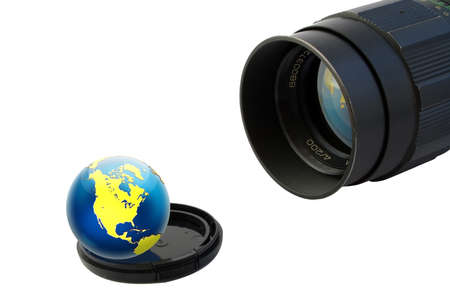 Old objective and globe on lens cup. Isolated on white. photo