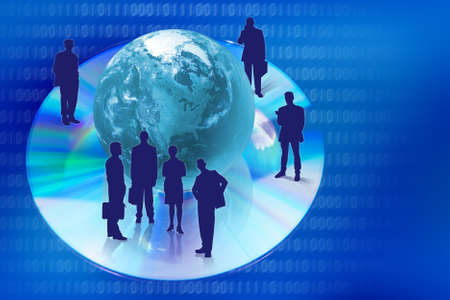 Compact disk with globe and business people silhouettes in blue colors. photo