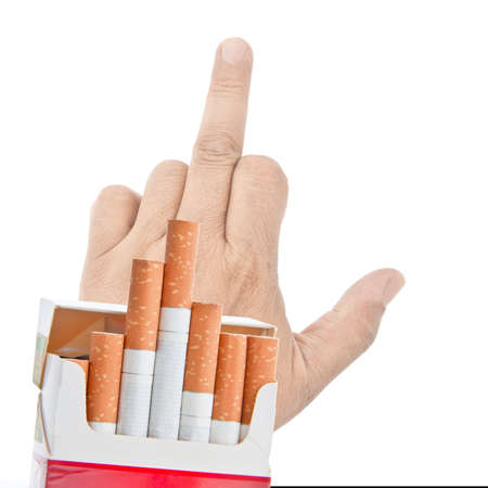 geste: Mans hand in rude form refuse to offer cigarettes. Isolated on white. Stop smoking collection. Stock Photo