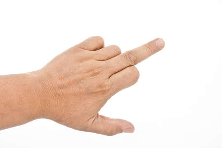 Mans hand show middle finger. Isolated on white background. photo