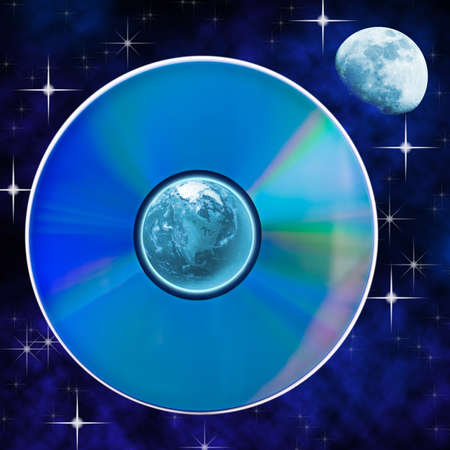 Abstract landscape with earth and compact disk symbolise global technology.  photo