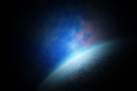 Abstract space landscape with planet and sunrise in dark colors. Stock Photo - 12594369