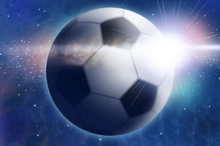 Abstract space landscape with football and sunrise look like burst. photo