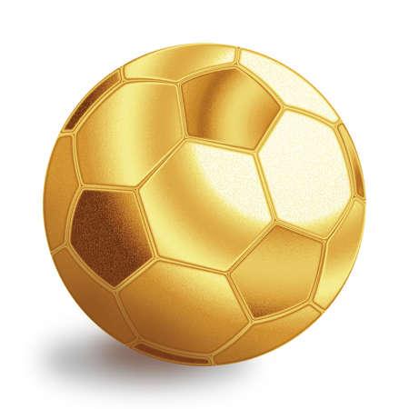 Golden football ball illustration. Isolated on white background. Stock Illustration - 12594579