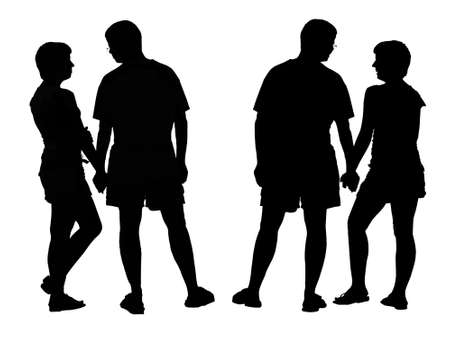 Two differents silhouette of young romantic pairs. Isolated on white background. Stock Photo - 13041123