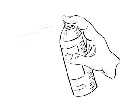 aerosol can: Mans hand with aerosol can  Sketch