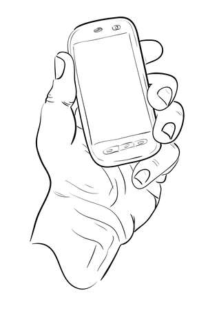 wireles: Mans hand with mobile telephone  Sketch  Illustration