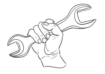 Mans hand holding wrench Vector