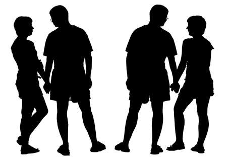 Two silhouettes of young romantic pair. Isolated on white background. Vector