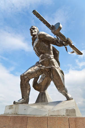 Monument to soviet soldier making from stainless steel in New Odessa, Ukraine