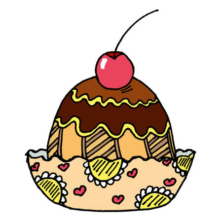 Hand draw colloreful cupcake with cherry vector illustration on white background