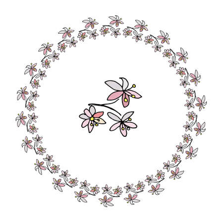 Round hand draw floral frame of spring flowers wreath on white round hand draw floral frame of spring flowers wreath on white background vector illustration mightylinksfo