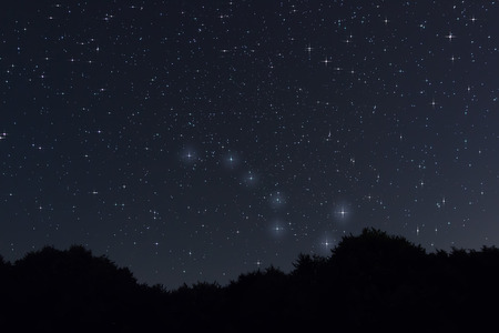 diffraction: Starry night Ursa Major,Big Dipper constellation with diffraction spikes Beautiful night sky Stock Photo