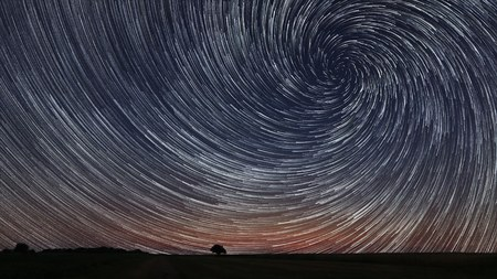 Beautiful Star Trails over filed with lonely tree. Beautiful night sky. Stockfoto