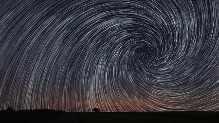 Beautiful Star Trails over filed with lonely tree. Beautiful night sky. Archivio Fotografico