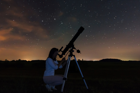 astronomer: Woman looking through a telescope watching the stars. Woman under Night sky, constellations, Draco, Ursa Major, Big Dipper, Botes