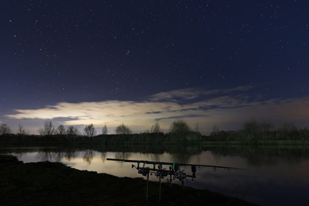 Night Fishing, Carp Rods, Starry Night Reflection