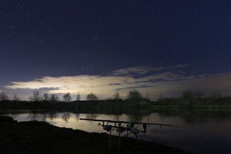 Night Fishing, Carp Rods, Starry Night Reflection
