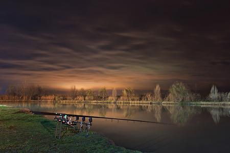 Night Fishing, Carp Rods, Cloudscape reflection on lake