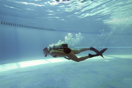 Diver in Swimming pool, Scuba Dive Swimming Pool, Underwater