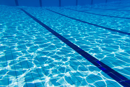 Blue water swimming pool underwater