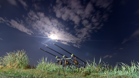 spinning reel: Carp spinning reel angling rods on pod standing. Night Fishing, Carp Rods, Cloudscape Full moon over lake.