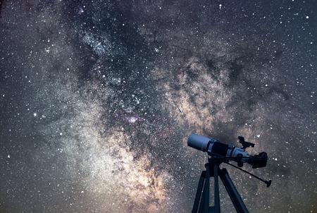 billions: Astronomical Telescope  Starry night. Milky Way Galaxy.