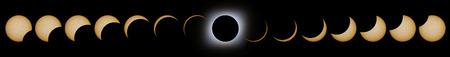 Gesamte Sonnenfinsternis Phasen. Zusammengesetzte Sonnenfinsternis. Standard-Bild - 78663056